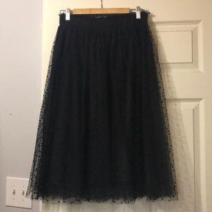 LC Lauren Conrad Black Tulle Polka Dot Skirt